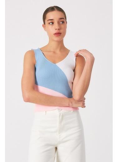 Robin Kalın Askılı Triko Body Pembe-Mavi Mavi